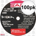 "Sait 23069 100pk 4"" x 3/8"" x .035"" Thin Metal Cutting Wheel"
