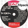 "Sait 23069 10pk 4"" x 3/8"" x .035"" Metal Cutting Wheel"