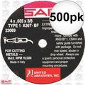 "Sait 23069 500pk 4"" x 3/8"" x .035"" Thin Metal Cutting Wheel"