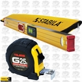 "Stabila 36548 48"" Electronic Level IP65 w/ Case + Tajima Tape Measure"