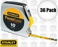 "Stanley 33-115 36pk 10' x 1/4"" PowerLock Pocket Tape Measure + Dia Scale"