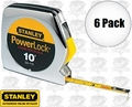 "Stanley 33-115 6pk 10' x 1/4"" PowerLock Pocket Tape Measure + Diameter Scale"