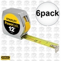 "Stanley 33-312 6pk 3/4"" x 12' PowerLock Tape Measure w/ Metal Case"