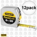 "Stanley 33-428 12pk 1"" x 26 ft/8m Inch/Metric Powerlock Tape Measure"