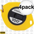 "Stanley 34-106 4pk 3/8"" x 100' Closed Long Tape Measure"