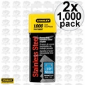 "Stanley TRA708SST 2pk 1000 Pack 1/2"" Stainless Steel Narrow Crown Staples"