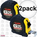"Tajima G-25BW 2pk 1"" x 25"" Shock Resistant Tape Measure"