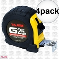"Tajima G-25BW 4pk 1"" x 25' Shock Resistant Tape Measure"
