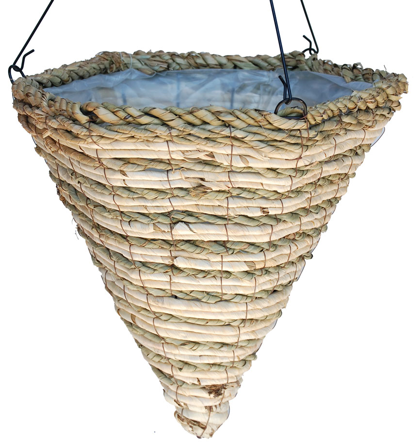 Hanging Flower Baskets Cone Shaped : Banana leaf rope maize hexagon shape cone hanging
