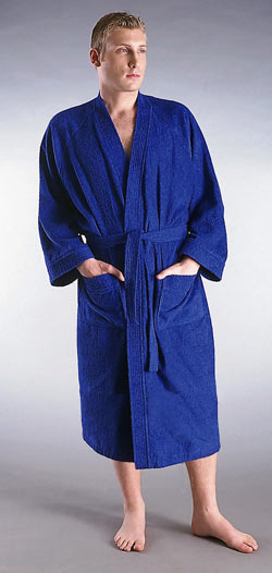 men 39 s lightweight terrycloth bathrobe kimono style. Black Bedroom Furniture Sets. Home Design Ideas