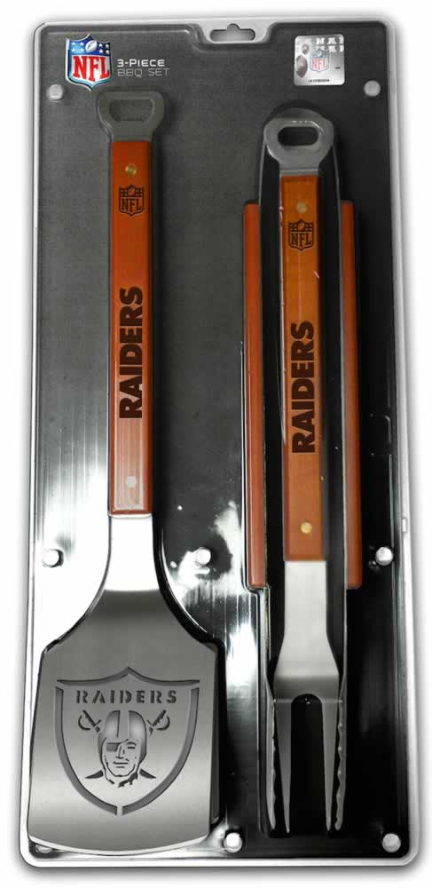 Oakland Raiders 3 Piece Sportula Bbq Tool Set