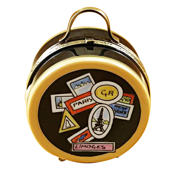 luggage round world sticker limoges box by rochard. Black Bedroom Furniture Sets. Home Design Ideas