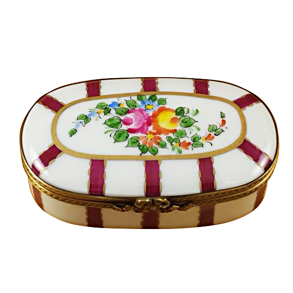 oval burgundy stripes with flowers limoges box by rochard. Black Bedroom Furniture Sets. Home Design Ideas