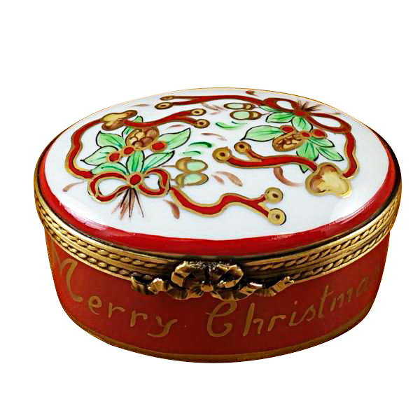 oval merry christmas limoges box by rochard. Black Bedroom Furniture Sets. Home Design Ideas