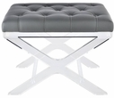 24 Inch Tufted Synthetic Leather Bench in Grey - Elegant Lighting AF1002
