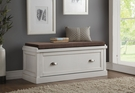 Aislins Bench w/ Storage in Fabric & White Washed - Acme Furniture 96618