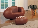 All Star 2Pc Pk Chair & Ottoman in Football: Brown & White - Acme Furniture 05526