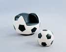 All Star 2Pc Pk Chair & Ottoman in Soccer: White & Black - Acme Furniture 05525