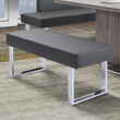 Amanda Contemporary Dining Bench in Gray Faux Leather & Chrome Finish - Armen Living LCAMBEGRBCH