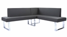 Amanda Contemporary Nook Corner Dining Bench in Gray Faux Leather & Chrome Finish - Armen Living LCAMCOGRSF