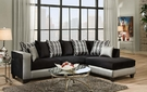 Ame Sectional Shimmer Silver & Implosion Black - Chelsea Home Furniture 424124-06-SEC-SS