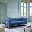 Andre Contemporary Loveseat in Brushed Stainless Steel & Blue Fabric - Armen Living LCAN2BLUE