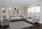 Andre Contemporary Loveseat In Gray Tweed & Stainless Steel - Armen Living LCAN2GR