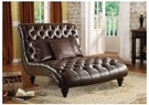 Anondale Chaise w/ 3 Pillows in 2-Tone Brown PU - Acme Furniture 15035