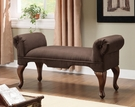Aston Bench w/ Rolled Arm in Chocolate Microfiber - Acme Furniture 05626