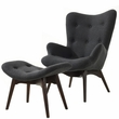 Auzzie Lounge Chair and Ottoman in Grey - EdgeMod Furniture EM-136-GRY