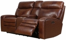 Barcalounger 24PH-3249 Damon Power Reclining Loveseat w/ console & Power Head Rests in 3706-86 Rygate Brownstone / Leather Match