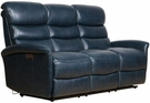 Barcalounger 39PH-3312 Kelso Power Reclining Sofa w/ Power Head Rests in 3706-45 Ryegate Sapphire Blue / Leather Match