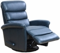 Barcalounger 8-3318 Jack Swivel Glider Recliner in 3706-45 Ryegate Sapphire Blue / Leather Match