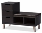 Baxton Studio Arielle Modern and Contemporary Dark Brown Wood 3-drawer Shoe Storage Padded Leatherette Seating Bench with Two Open Shelves B-001-Espresso