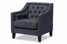 Baxton Studio Vienna Classic Retro Modern Contemporary Grey Fabric Upholstered Button-tufted Armchair - DB-187-gray