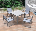 Bistro Dining Set Grey Powder Coated Finish (Table w/ 4 chairs) - Armen Living SETODBI