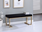 Boice Bench in Black Fabric & Champagne - Acme Furniture 96595