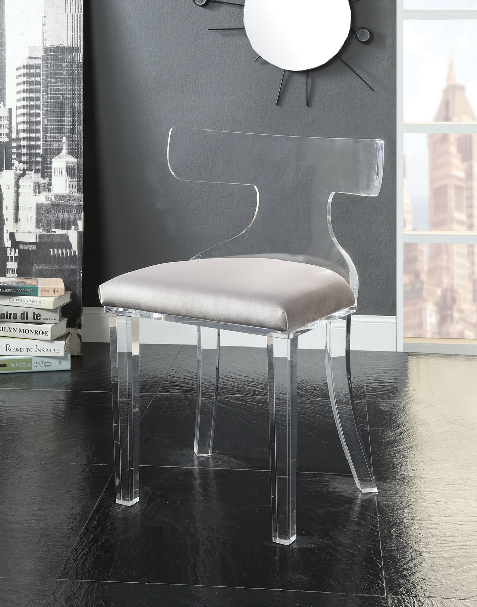 Bradley Accent Chair In Gray Velvet U0026 Clear Acrylic   Acme Furniture 59820