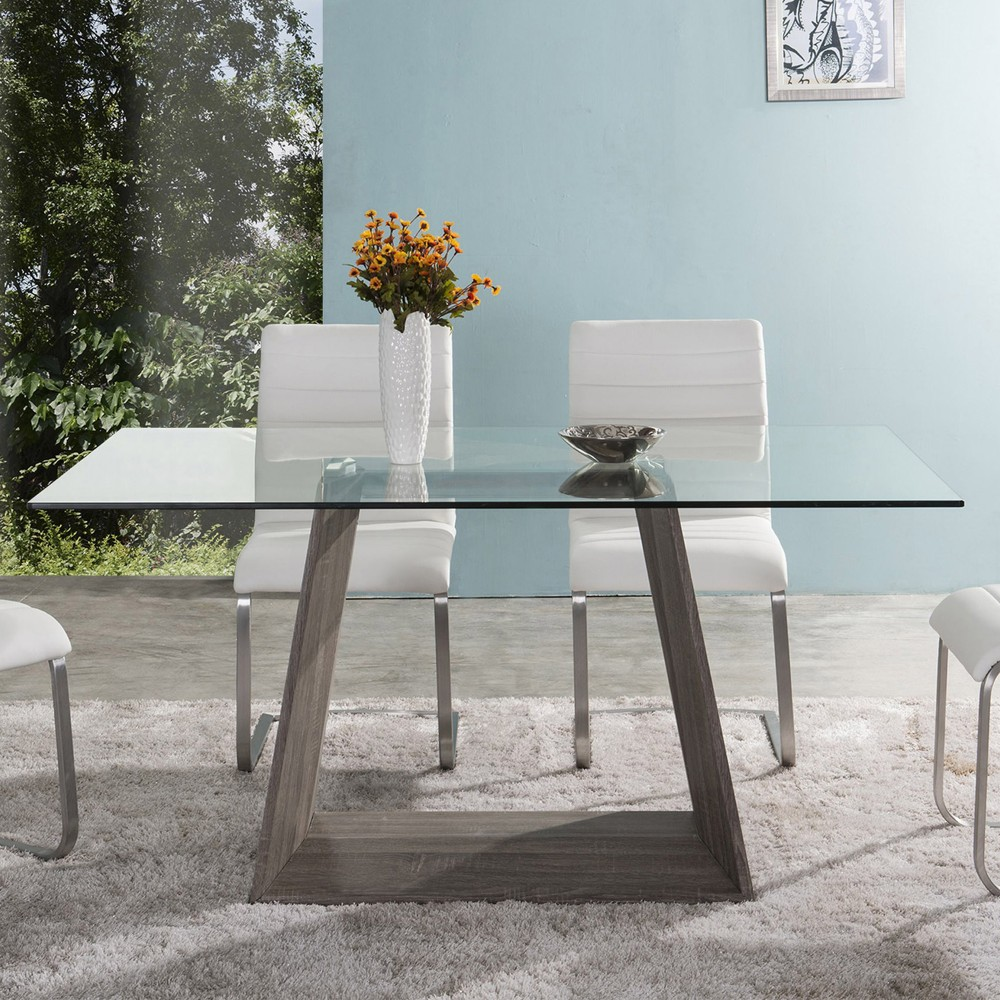 Bravo Contemporary Dining Table In Dark Sonoma Base w/ Clear Glass ...