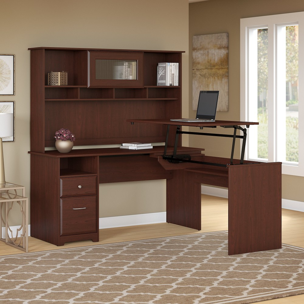 Cabot 60w 3 Position L Shaped Sit To Stand Desk With Hutch In Harvest Cherry Bush Furniture Cab045hvc