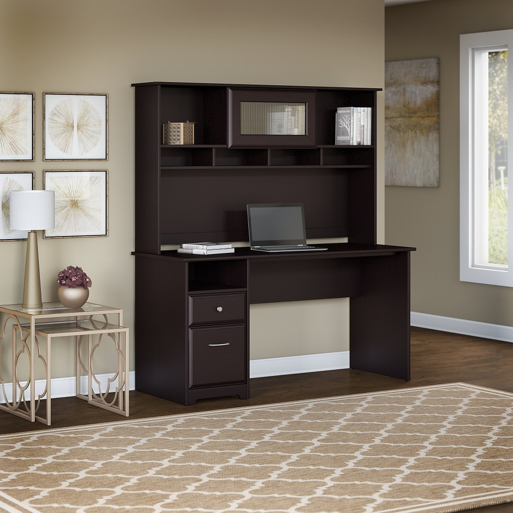 Cabot 60w Computer Desk With Hutch And Drawers In Espresso Oak Bush Furniture Cab042epo