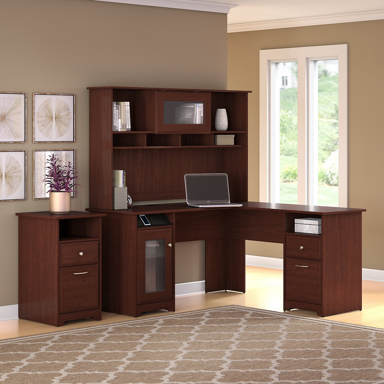 Cabot L Shaped Desk W Hutch 2 Drawer File Cabinet In Harvest Cherry Bush Furniture Cab018hvc
