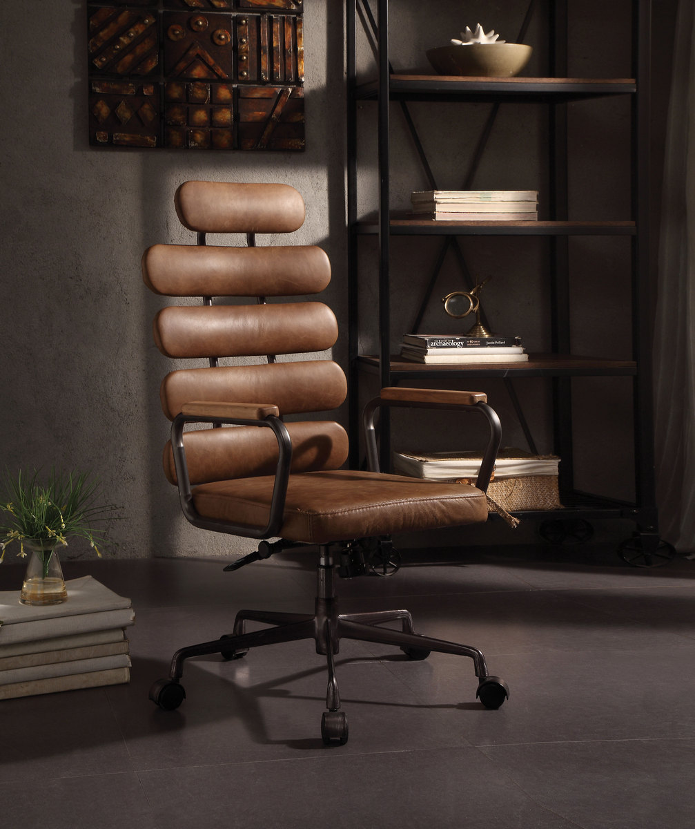 Calan Executive Office Chair In Retro Brown Top Grain Leather   Acme  Furniture 92108