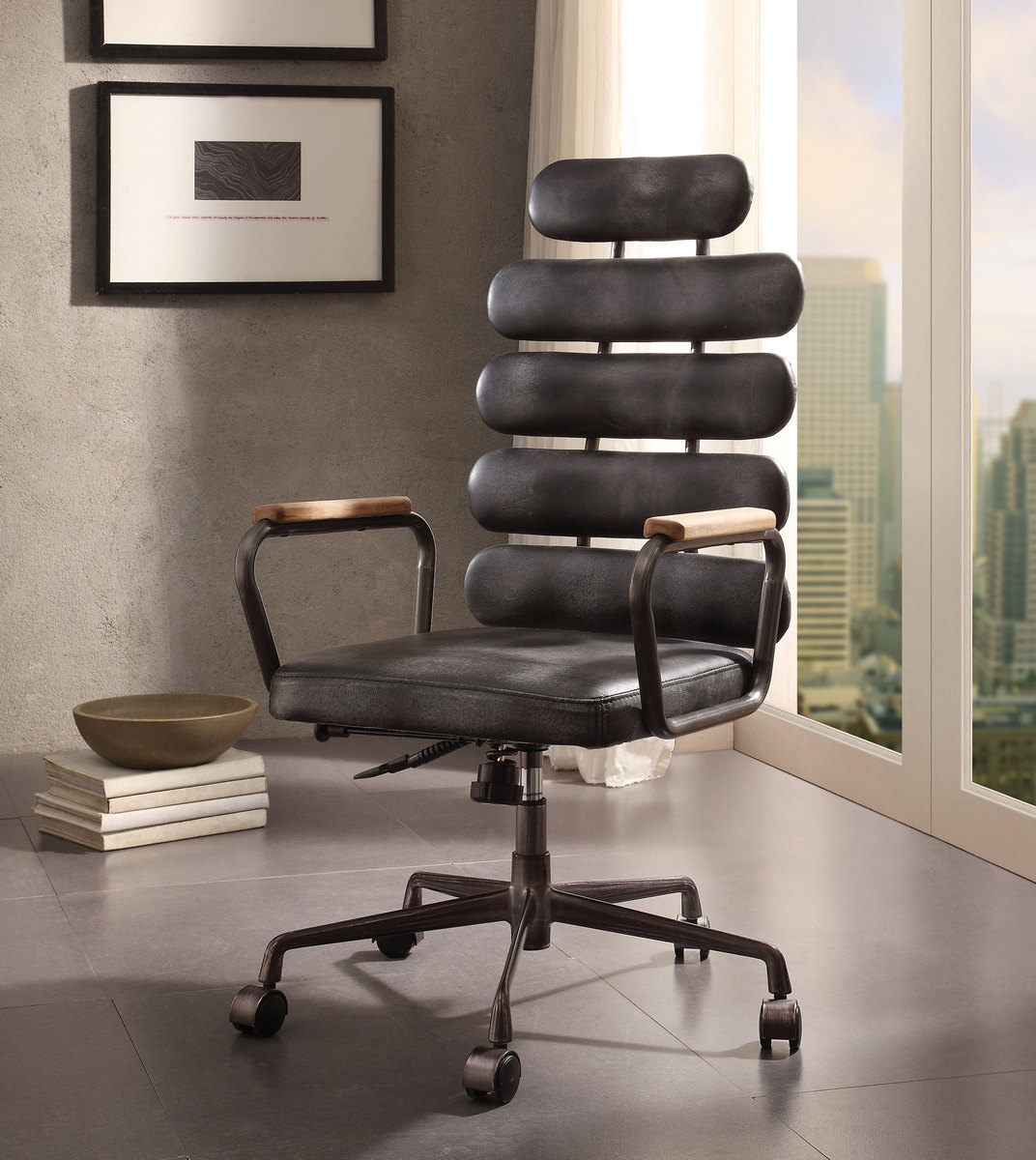 Calan Executive Office Chair In Vintage Black Top Grain Leather   Acme  Furniture 92107