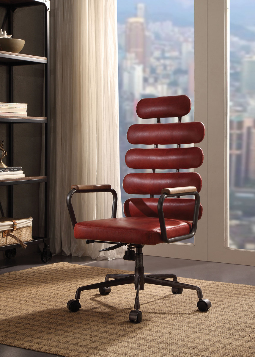 Calan Executive Office Chair In Vintage Red Top Grain Leather   Acme  Furniture 92109