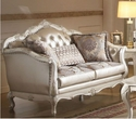 Chantelle Loveseat w/ 3 Pillows in Rose Gold PU/Fabric & Pearl White - Acme Furniture 53541
