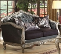 Chantelle Loveseat w/ 3 Pillows in Silver Gray Silk-Like Fabric & Antique Platinum - Acme Furniture 51541