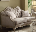Chelmsford Loveseat w/ 2 Pillows in Beige Fabric & Antique Taupe - Acme Furniture 56051
