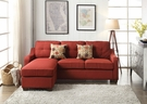 Cleavon II Sectional Sofa (Rev. Chaise) & 2 Pillows in Red Linen - Acme Furniture 53740