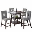 "CorLiving DIP-490-Z1 Bistro 5pc 36"" Counter Height Cappuccino Dining Set - Pewter Grey"